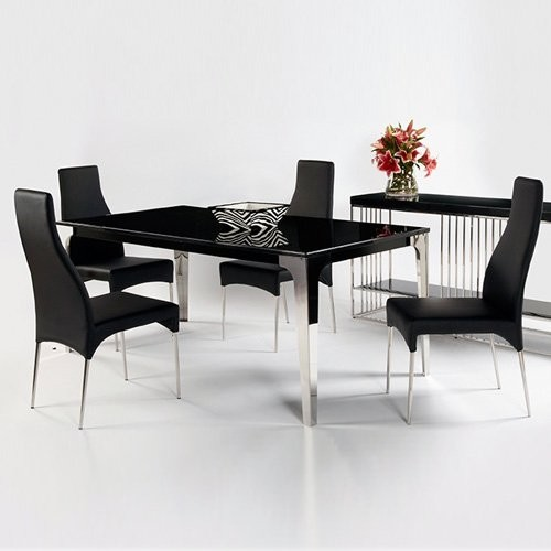 Chintaly crystal 5 pc black marble dining table set Black marble dining table set