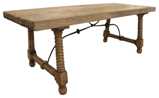 Zareb Reclaimed Rustic Elm Wood Spanish Iron Base Dining Table transitional-dining-tables