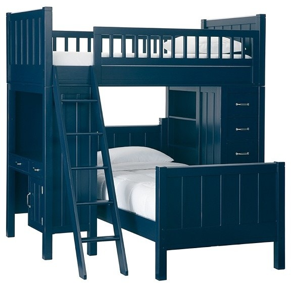 Camp Bunk System And Twin Bed Set, Weathered Navy contemporary-kids-beds
