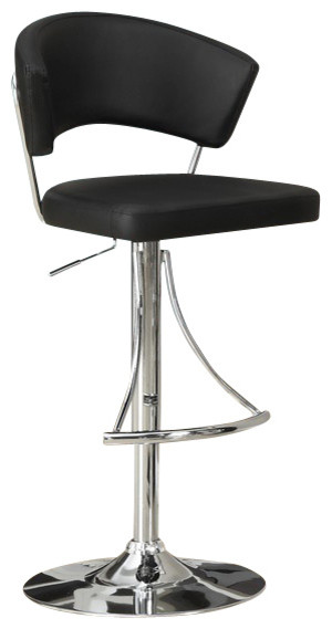 Monarch Specialties Contemporary Swivel Barstool with Hydraulic Lift in Black contemporary-bar-stools-and-counter-stools