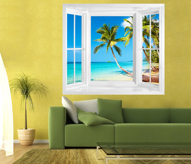Tropical beach view of kood island thailand window frame for Beach wall decals