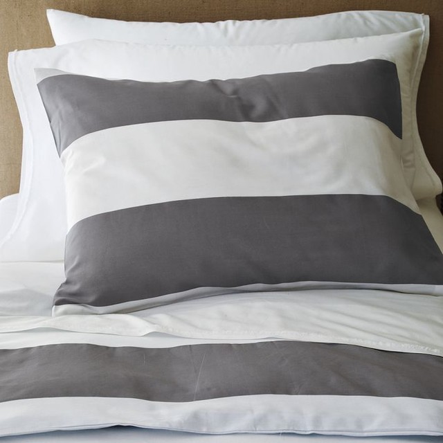 Stripe Duvet Cover And Shams White Feather Gray