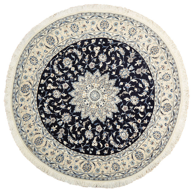 Fine Round Persian Bidjar Area Rug Hand Knotted Wool And: Navy Blue Persian Nain Wool And Silk Round Hand Knotted