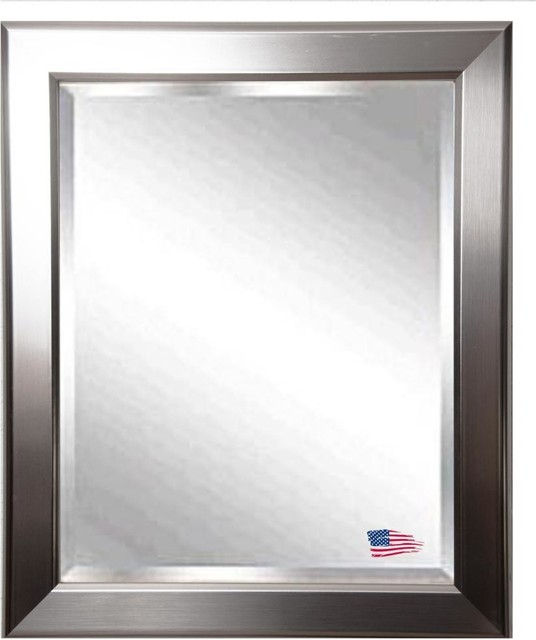 American Made Silver Rounded Beveled Wall Mirror modern-mirrors