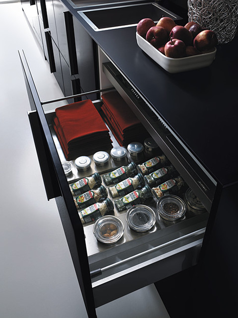 Italian Kitchen Cabinet Organization and Close-up Images contemporary-food-containers-and-storage