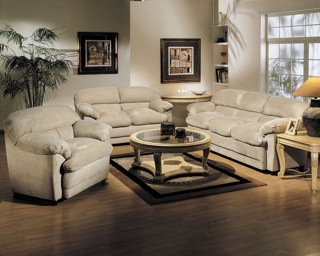 Bella Beige Easy Rider 3 PC Sofa Set Contemporary Living Room Furniture S