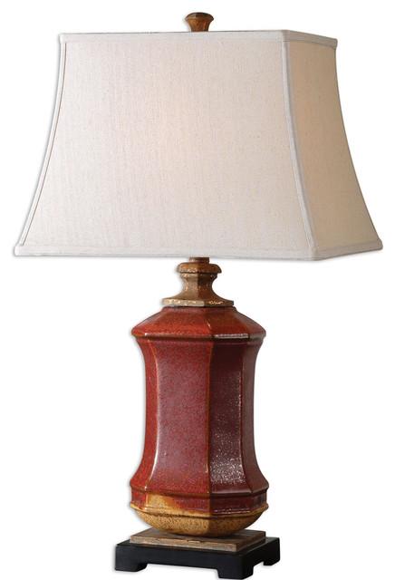 Uttermost Fogliano Red Ceramic Lamp - 26497 transitional-home-decor