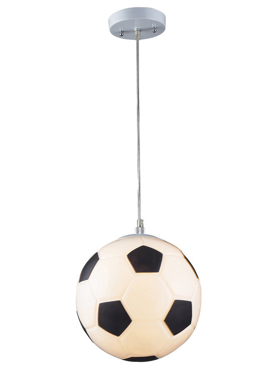 Soccer Ball Pendant Light - Score a GOAL with this unique and whimsical pendant light, the perfect addition to a soccer-themed children's bedroom. This soccer ball inspired novelty pendant light is perfect for the sports fan of any age. Includes 6 feet of cable.