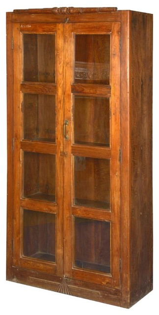 Wood Bookcases With Glass Doors ~ Sante fe teak wood glass door display armoire bookcase