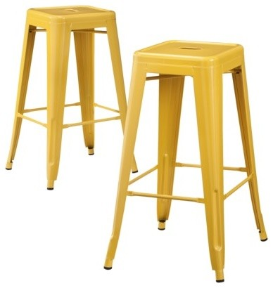 Carlisle Metal Bar Stools Yellow Set Of 2 Industrial