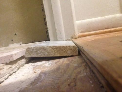 Tile Threshold Between Bathroom And Hardwood Floor 1 2
