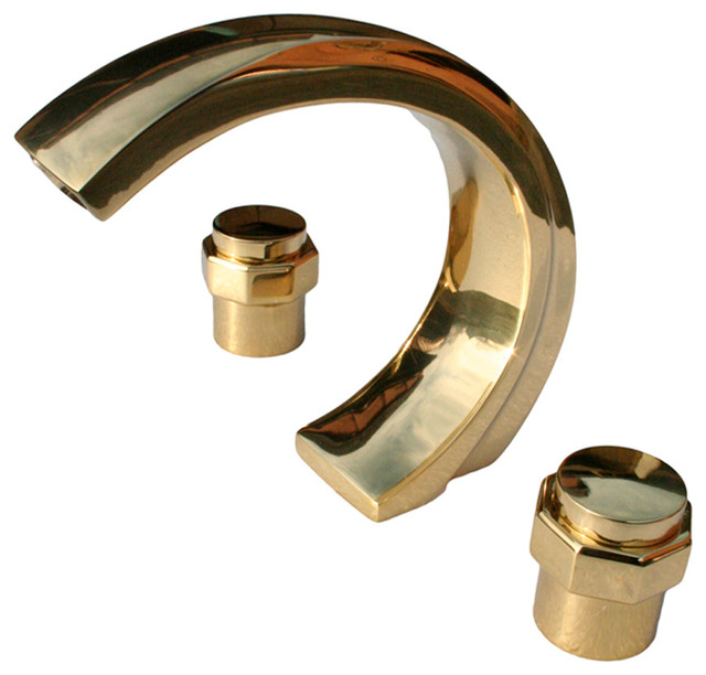 Faucets Bright Solid Brass 3 Piece C Style Bath Tub Faucet Traditional Ba