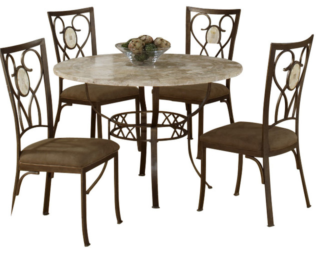 Hillsdale brookside 5 piece round dining room set with for Traditional round dining room sets