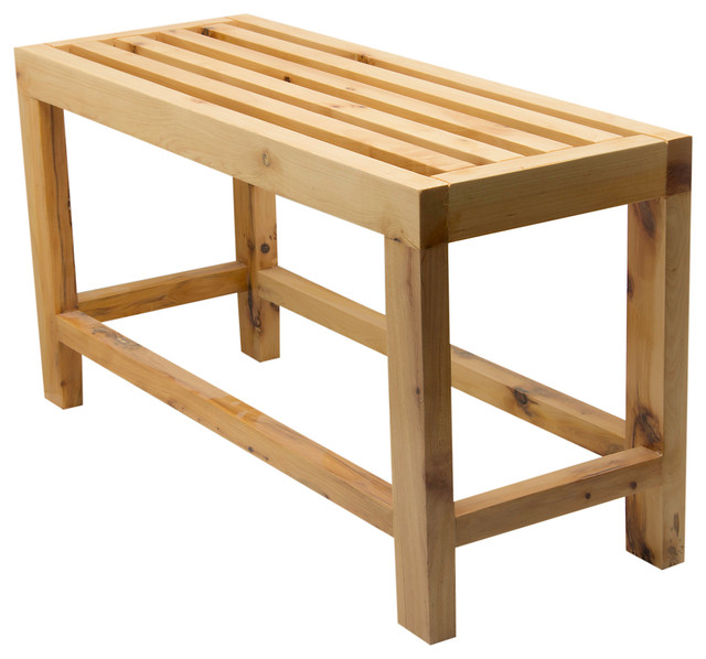 Slatted Wood Sitting Bench - Contemporary - Shower Benches ...