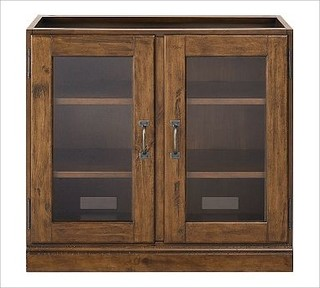 Printer's Double Glass Door Cabinet, Tuscan Chestnut stain - Traditional - Storage Cabinets - by ...