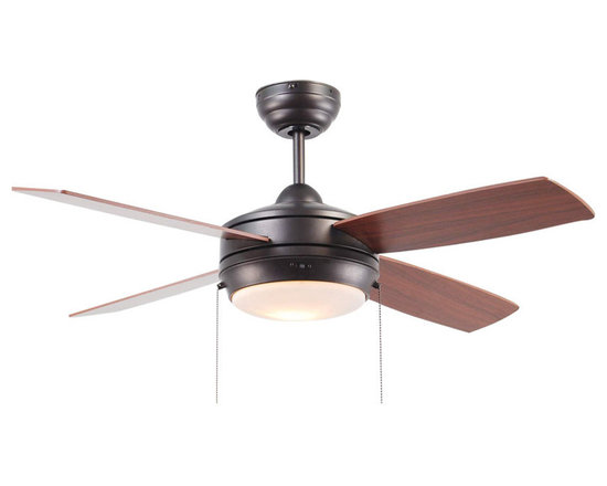 "Ellington Fans - Ellington Fans E-LAV44ESP4LK Espresso Modern Modern Indoor 4 Blade 44"" - Ellington Fans Laval-44 Modern Indoor 4 Blade 44"" Ceiling Fan with Light Kit Give a sophisticated presentation to your room with the Laval Ceiling Fan from the Modern Collection by Ellington Fans. The fan is a simple way to create the appearance that you ve been looking for. Sophistication, poise and elegance come in all shapes and sizes. Get carried away by Ellington Fans Classic Collection and find exactly what you re looking for among their unique masterpieces. Ellington Fans Laval-44 Features:  1 x 100 Watt Down Light Kit Included 6"" Downrod Included  Ellington Fans Laval-44 Specifications:  Height from Blades: 11.5"" Height from Ceiling: 14"" Light Kit Adaptable: Yes Light Kit Included: Yes Number of Blades: 4 Blade Span: 44"" Control Type: Pull Chain Mount Type: Dual-Mount Motor Size: 153mm x 15mm  Ellington Fans Laval-44 Blade Finishes:   Brushed Pewter Finish  - Silver Blades  Espresso Finish  - Dark Oak / Mahogany Blades  Matte White Finish  - Matte White Blades"