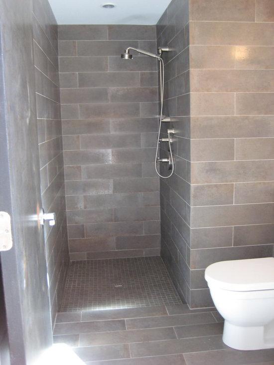 grey ceramic subway tile bathroom design ideas pictures
