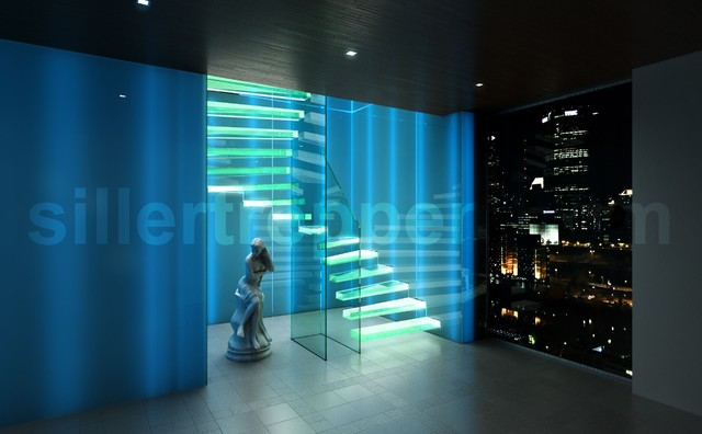Cantilevered glass stair in Frankfurt, Germany modern-staircase