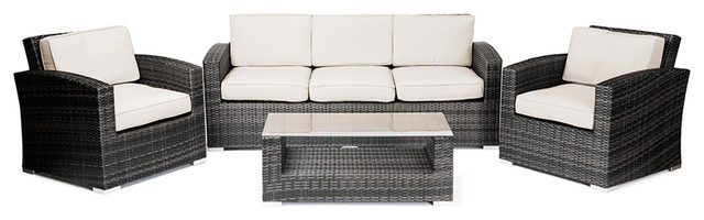 Reef Rattan Abaco 4 Pc Conversation Set with Deep Seating Sofa - Grey Rattan / B tropical-patio-furniture-and-outdoor-furniture