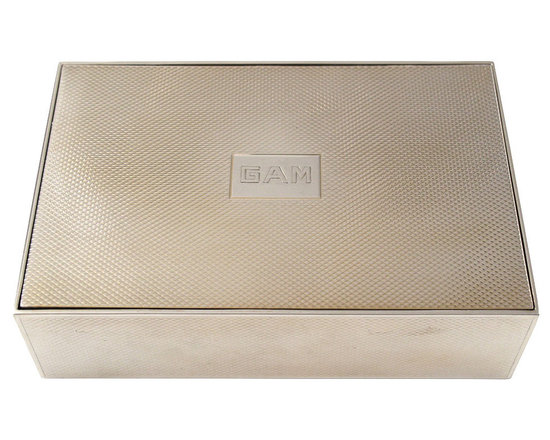 Hermes Sterling Silver Dresser Box with Gold Washed Interior and Monogram GAM -