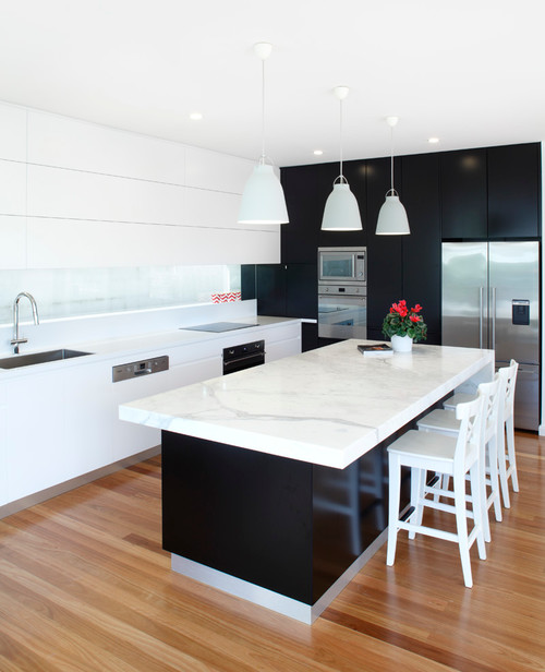 Corian Benchtop Endless Styles: This Beautiful Kitchen Located In Mosman Sydney Features A Marble Island Bench Top, Corian