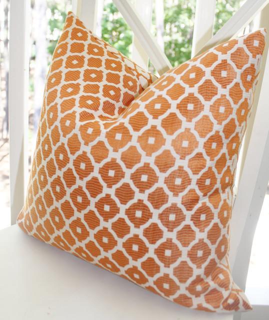 Orange and Ivory Geometric Tile Designer Pillow Cover decorative-pillows