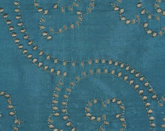 Blue Custom Made Embroidered Dupioni Silk Curtains modern window treatments