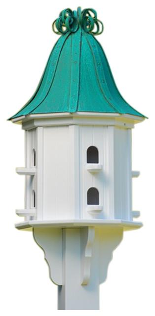 Vinyl Birdhouse, Copper Ribbon Roof traditional-birdhouses