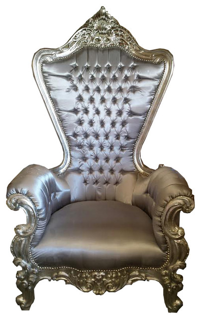 Colette French LOUIS XV Style Throne Chair in Silver traditional-chairs