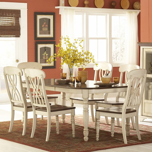 Homelegance ohana 7 piece rectangle dining table set for Kitchen table set 7 piece