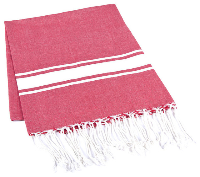 Handmade 100% Cotton Tunisian Fouta Hammam Towel, Red mediterranean-towels