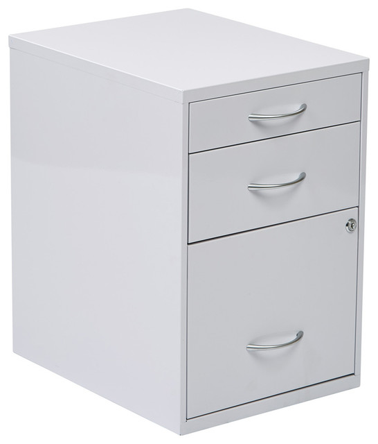 "22"" Pencil Box Storage File Cabinet, White - Contemporary - Filing Cabinets - by eFurniture Mart"