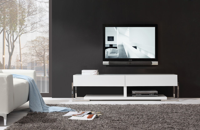 B-Modern Agent White High-Gloss TV Stand with White Glass Top modern-media-storage