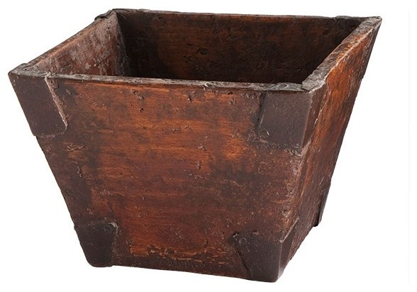 Reclaimed Wooden Bucket asian-storage-bins-and-boxes