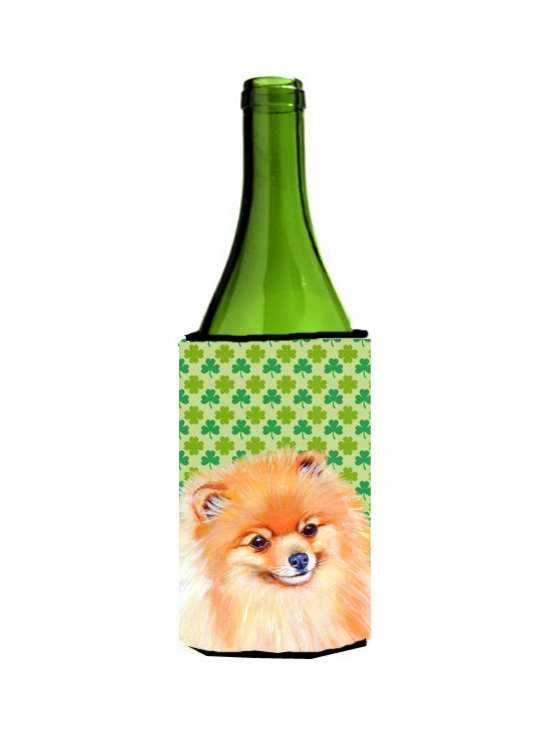 Caroline's Treasures - Pomeranian St. Patrick's Day Shamrock Portrait Wine Bottle Koozie Hugger - Pomeranian St. Patrick's Day Shamrock Portrait Wine Bottle Koozie Hugger Fits 750 ml. wine or other beverage bottles. Fits 24 oz. cans or pint bottles. Great collapsible koozie for large cans of beer, Energy Drinks or large Iced Tea beverages. Great to keep track of your beverage and add a bit of flair to a gathering. Wash the hugger in your washing machine. Design will not come off.
