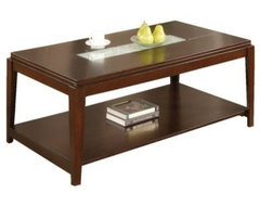 Steve Silver Ice Rectangle Cherry Wood Coffee Table with Cracked Glass Insert modern-side-tables-and-end-tables