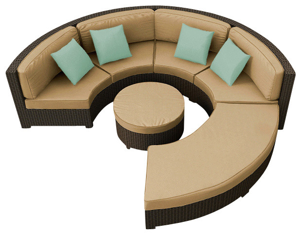 Hampton Radius 4 Piece Outdoor Sectional Set, Chocolate Wicker and Tan Cushions modern-outdoor-lounge-sets
