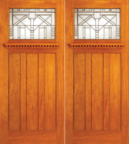 Mahogany Mission Style Double Prehung Front Doors Triple