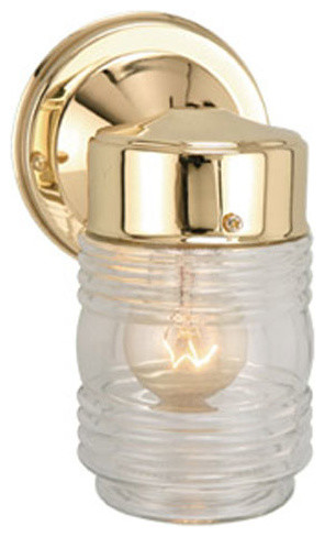 Jelly Jar Polished Brass Outdoor Wall Mounted Light - modern