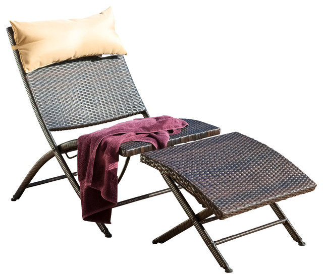 Selma Outdoor Lounge Chair And Ottoman Contemporary