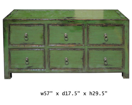 Green Glossy Lacquer Six Drawers Low Cabinet Dresser -