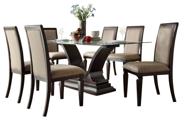 Homelegance Plano 7-Piece Glass Dining Room Set with U-Shaped Base - Traditional - Dining Sets ...