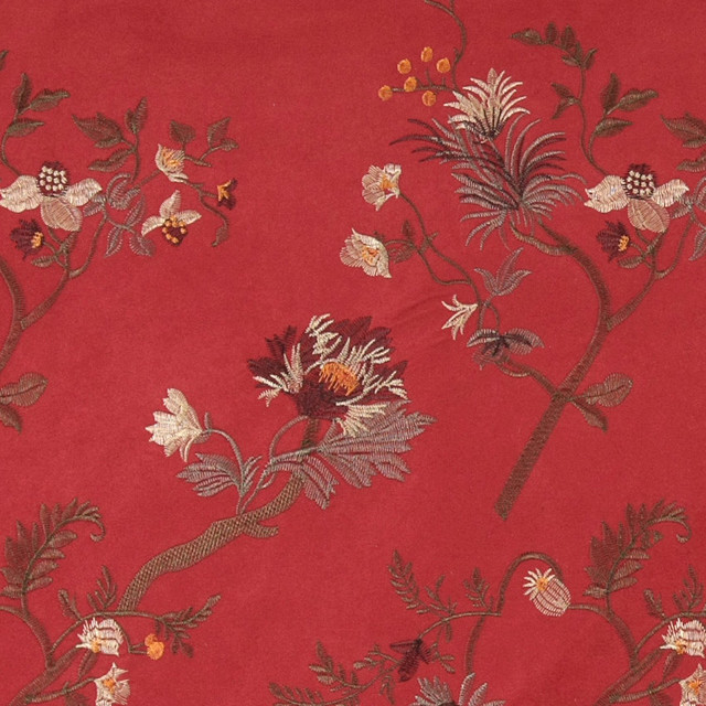 Red green ivory brown embroidered floral suede upholstery