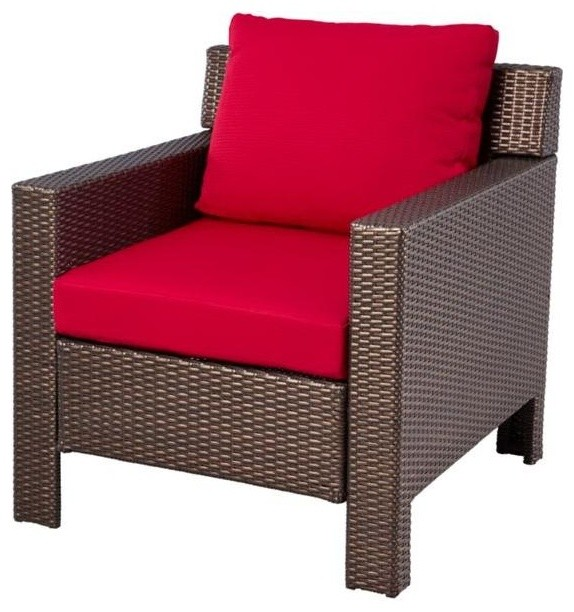 Hampton Bay Chairs Beverly Patio Deep Seating Lounge Chair with Dragon Fruit