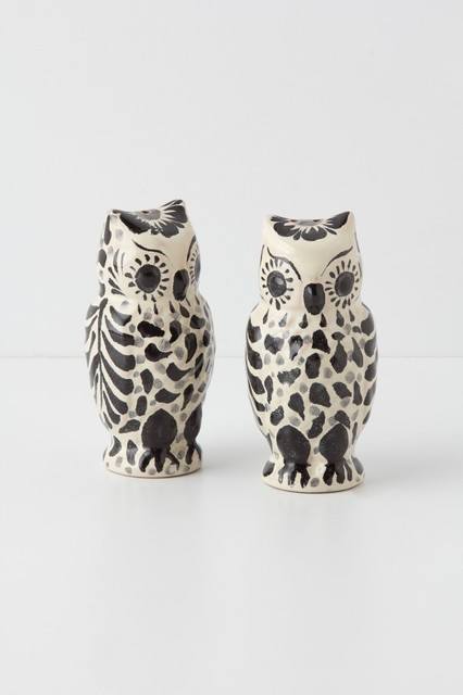 Hand painted folk owl salt pepper shakers eclectic salt and pepper shakers and mills by - Owl salt and pepper grinders ...