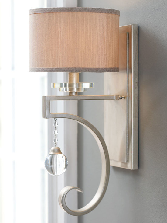 Lighting - Swooping wall sconce is made even more glamorous by the addition of a large crystal ball drop.