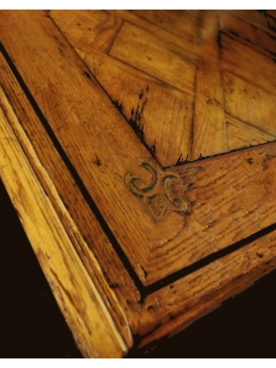 Cool Stuff - Country Manor Dining Table -  hand carved Fluer de LIs detail in corner  with  parquet wood  top - 70 finishes and trrims available..