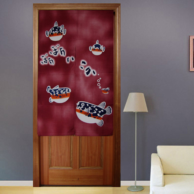 New Japanese Noren Blowfish Door Curtain traditional
