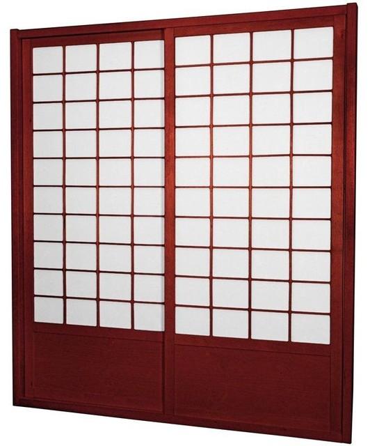 7 ft. Tall Zen Shoji Sliding Door Kit (Double - Sided) - Rosewood asian-interior-doors