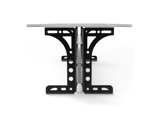 "The Titus Table - The Titus Table. Construction:  Hand finished commercial black steel, half inch glass top (96""x 36""). The Titus Table was one of my earlier works inspired by my heritage, the aesthetics of ancient Rome and my love of vintage art and furniture. Its lines capture strength and elegance."